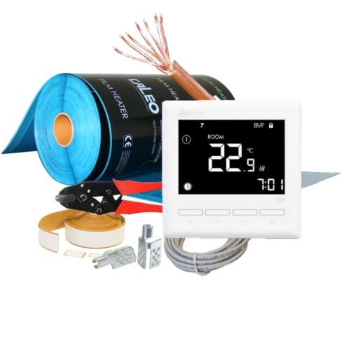 Set - električno podno grijanje - grijaći film sa termostatom za sobu od 8 m2